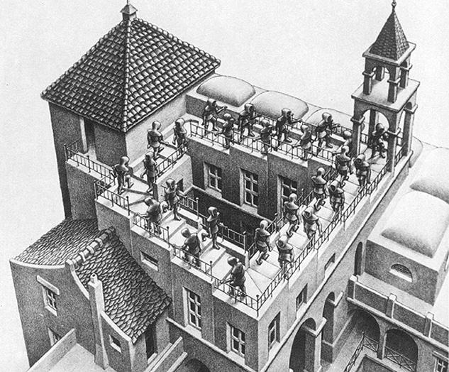 The Escher Penrose stairs of the opposition FvD, Willem Engel and Maurice de Hond